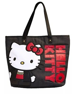 b7b4ae73a7e NEW LOUNGEFLY X HELLO KITTY Black Tote Purse Bag! -  62.95   PicClick