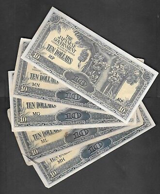 10 Dollars x 5 Japenese Occupation Money All Series MN,MP,MG,ML & MH