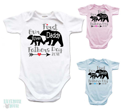 FIRST FATHERS DAY Daddy & Baby Bear Personalised 2018 Romper One piece Bodysuit