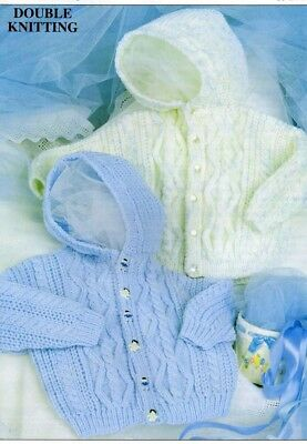 Hooded Jackets BABY Toddler Knitting Pattern Copy 8 Ply DK 51 - 61 cms