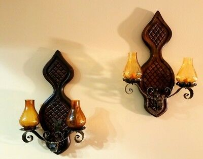 VINTAGE WOOD Wall Sconces / Candle Holders - $14.99   PicClick