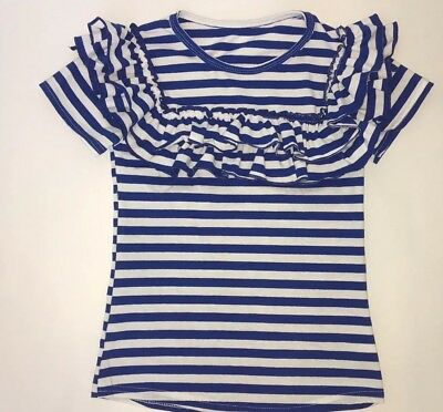 Girls Toddlers Royal Blue & White Ruffle Flutter Tee Boutique Outfit