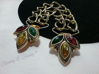 Vintage Gold Chunky Double Chain Marbled Red Green Yellow Lucite Sweater Guard