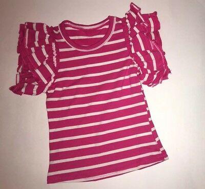 Girls Toddlers Dark Pink & White Ruffle Flutter Tee Boutique Outfit