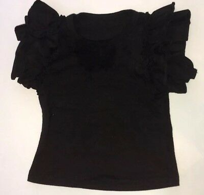 Girls Toddlers Black Icing Ruffle Flutter Tee Boutique Outfit