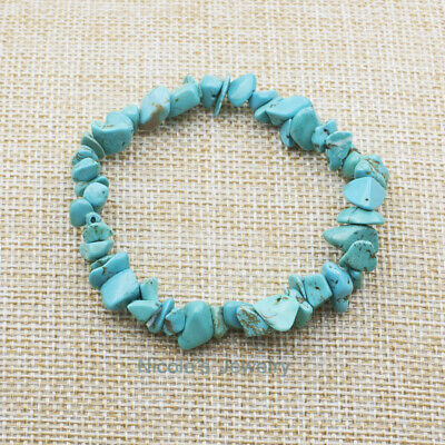 Natural Turquoise Bracelet Gemstone Crystal Chip Beads with Gift Bag BF32