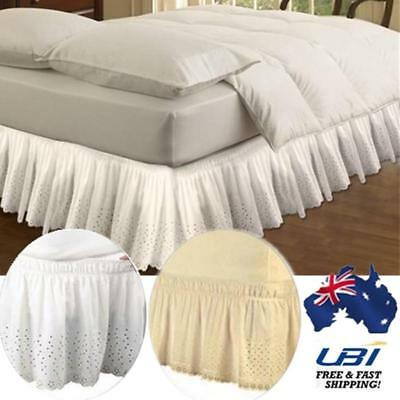 Elastic Queen Ruffle Skirt Wrap Bedding Bed Spreads Cover Sheet Valance Easy Fit