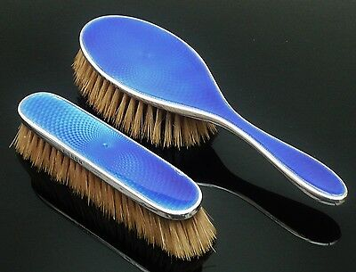 Silver Enamel Hair Clothes Brushes, Barker Brothers Silver Ltd 1929