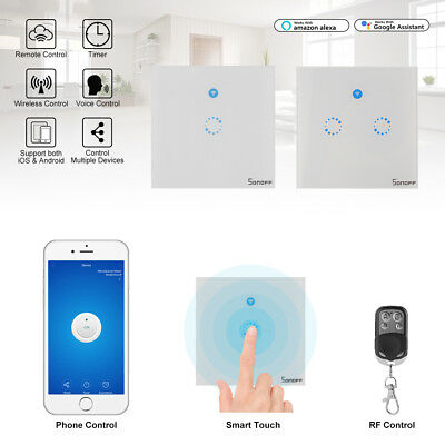 Sonoff Smart Touch Switch 1 2 Gang LED Wall Light WIFI APP Remote Control Timer