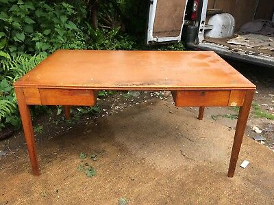 LARGE VINTAGE REMPLOY 5ft OAK DESK. MID CENTURY, EX SCHOOL, GOVERNMENT, MILITARY