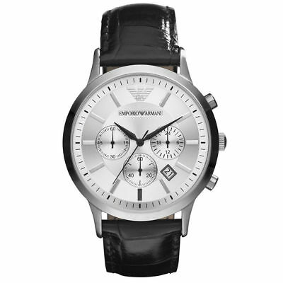 New Emporio Armani AR2432 Mens Classic Chronograph Watch on Black Leather