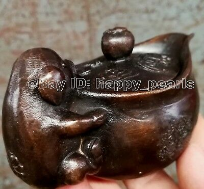 Vintage Pot Antique small handless winecup excellent pig bronze carved statue