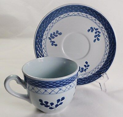 Royal Copenhagen Tranquebar Blue Lattice Weave Cup and Saucer 2 5/8""