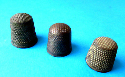 Antique ,3 Early 19Th Late 18Th Century  Steel Small Sewing Thimbles