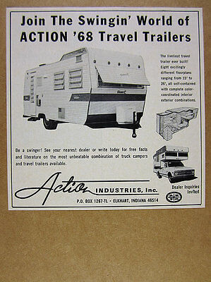 1968 Swinger Travel Trailer photo Action Industries vintage print Ad