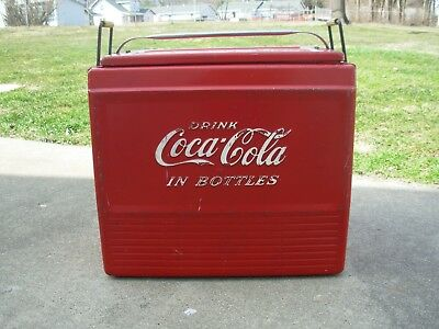 Vintage Coca Cola Coke Metal Embossed Picnic CoolerDRINK COCA COLA IN