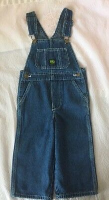 BOY'S JOHN DEERE  BLUE JEAN BIB OVERALLS  SIZE  2 T  good  condition