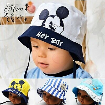 Baby Boys Sun Hat Summer Beach Bucket Cap Newborn Toddler Kids Tie Up Cotton