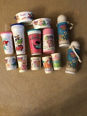 Lot of Vintage Muppet Babies Trolls Popples Etc Cups Bowls