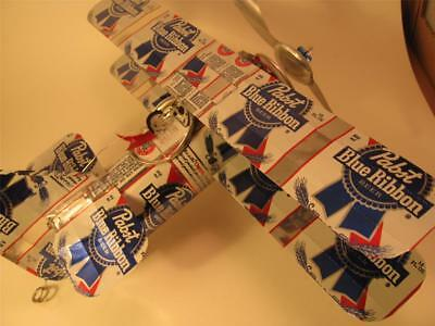 Pabst Blue Ribbon Beer Can Airplane - Handmade-Wind Spinner-Airplane-can art