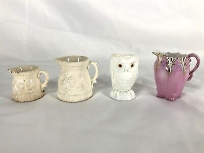 Vintage Miniature Glass Ceramic Pitchers Creamers Collectibles Lot Of 4