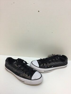 Converse Chuck Taylor All Star Black/White Sequin Low Top Shoes Women's Size 6