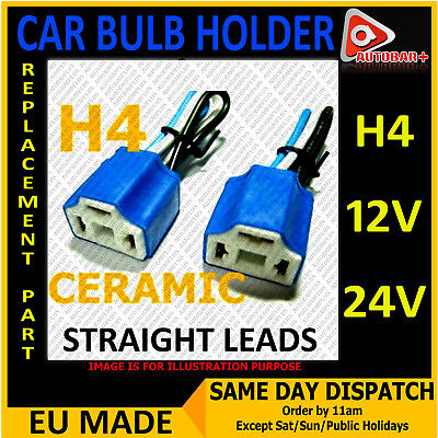 2 x H4 3 Pin Headlight Replacement Bulb Holder Connector Plug Wire Socket