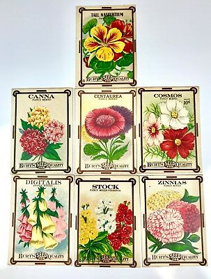 7 Vintage used Empty Flower Seed Packs for Use Crafts Burts Seeds Cosmos Canna