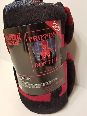 "Stranger Things ""Friends Don't Lie"" Plush Throw Blanket Fleece Netflix New"