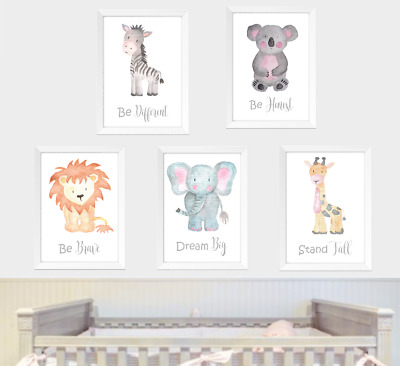 Safari jungle animals neutral nursery prints set of 5, Baby bedroom art animal