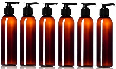 6 Empty 8 oz. Amber Plastic PET Cosmo Round Bottles with Black Lotion Pump