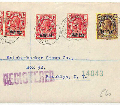 AB344 1917 Turks & Caicos Islands *WAR TAX* Mixed Franking Registered Cover USA