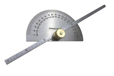 "Taytools 469249 6"" Depth Gauge Protractor Round Stainless Steel Brass Knob"