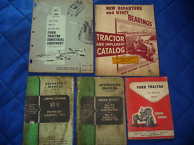 5 Vintage Tractor Books Manuals Ford 701 901 John Deere Forage Harvester 6 72 74