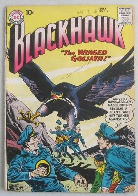 "Blackhawk #114 July 1957 Dc Comics ""the Winged Goliath"""