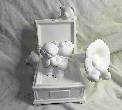 Ceramic Bisque Ready to paint Bear Phonograph Music Box