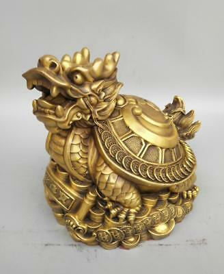 China's Seiko carving pure brass dragon tortoise coin wealth statue
