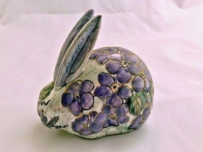 Vtg Porcelain Handpainted Florals on Small Bunny Rabbit Figurine Macau, China