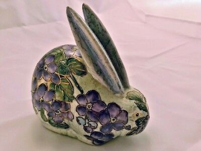 Vtg Porcelain Handpainted Purple Florals on Bunny Rabbit Figurine Macau, China