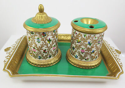 LOVELY VINTAGE CHELSEA HOUSE PORT ROYAL ITALY porcelain hand painted inkwell set
