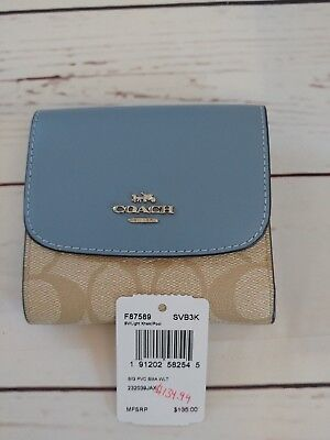 lowest price fe56a 3f223 NWT COACH F87589 Signature Coated Canvas Small Wallet Light Khaki/Pool