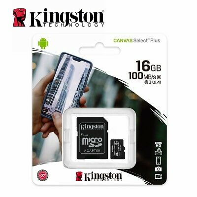Micro SD Card Kingston 16GB Class10 SDHC Mobile Memory Canvas Plus Select 100Mbs