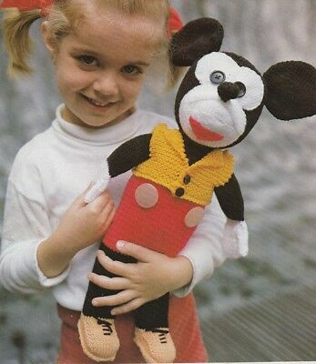 Mickey Mouse Soft Toy Knitting Pattern copy  8 Ply - 41cm in Height