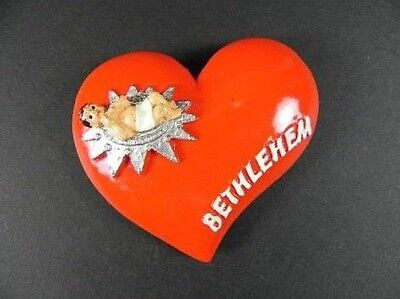 Bethlehem Magnet Souvenir Israel, Jesus Christ, Heart Shape Red, NEW