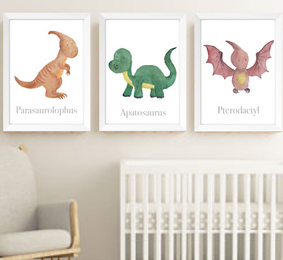 Dinosaurs Nursery Decor Print Set Of 3 Dinosaur Baby Children Bedroom Pictures