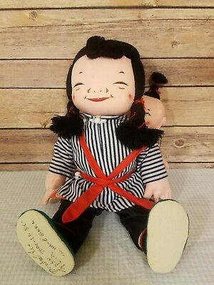 Michael Lee Micale Doll Chinese Asian Girl  Baby Child Vintage Cloth Signed 403