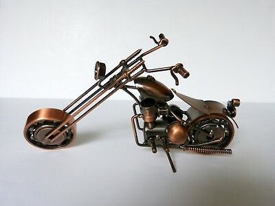 Folk Art Metal Chopper Bike Motorcycle