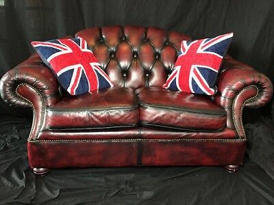 1 Quality Handmade Luxury Leather Chesterfield Style 2 Seater Sofa Oxblood Red