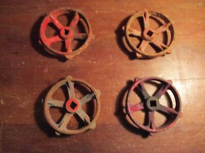 "4 Unique Vintage Steampunk Cast Iron Water Valve Handles 3 1/4"" Inch"