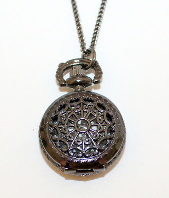Necklace Watch, Antique Black Tone Victorian Style Pocket Watch, Steam Punk